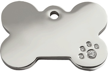 Red Dingo Bone Diamante Dog Tag