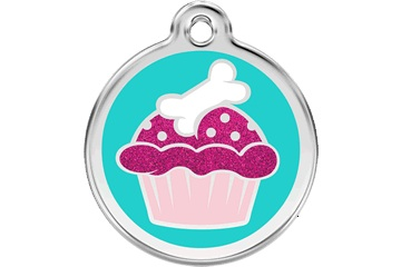 Red Dingo Dog Tag Glitter Cupcake