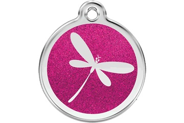 Red Dingo Dog Tag Glitter Dragonfly