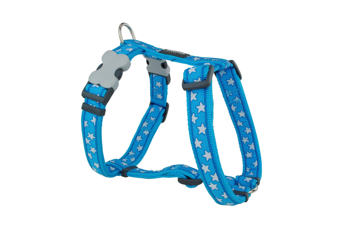 Red Dingo White stars on Turquoise blue Dog harness